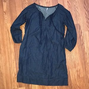 Old Navy Chambray Embroidered Detail Dress